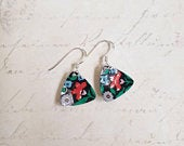 1950s vintage tin earrings handmade by ScattyBun Recycled Tin Jewellery 10th anniversary gifts under 30 Huntley and Palmers Workbasket