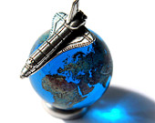 22mm (0.9) Earth Globe Recycled Glass Marble Miniature Space Shuttle Set Cosmic Planet World Orrery Solar System