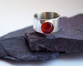 Amber Wide Sterling Silver Ring unisex, mens ring, womens ring, gemstone, statement ring, wide band, recycled