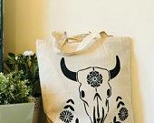 Animal skull 100% natural recycled cotton tote bag reusable bag hand printed