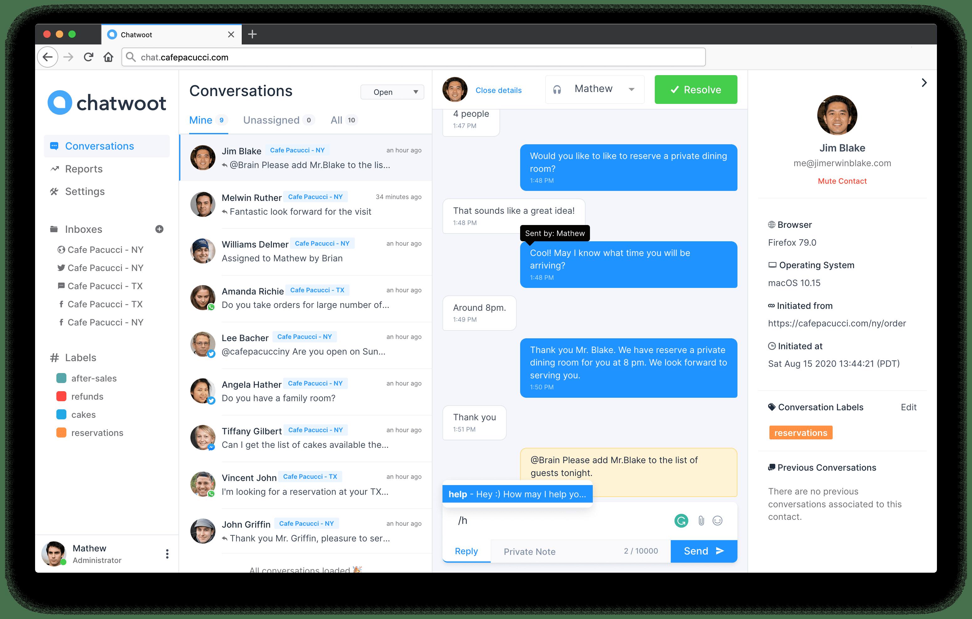 Chat dashboard