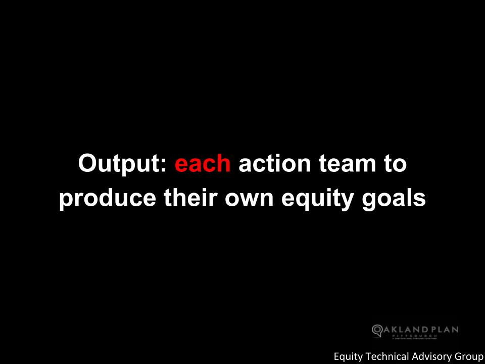 Output: each action team to produce their own equity goals
