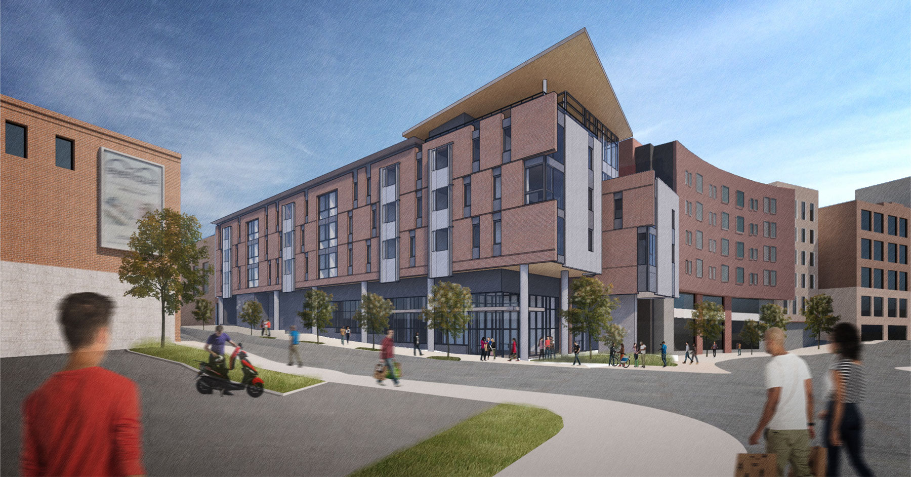 Flats on Forward and the adjacent Krause Commons in Squirrel Hill provide ground floor retail, affordable housing units, open space, and office space.
