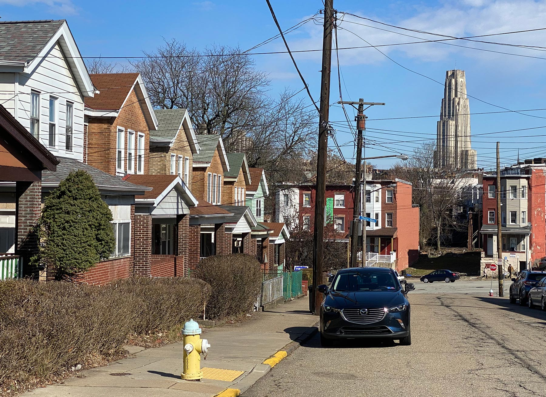 View of South Oakland with the Cathedral of Learning in the background.