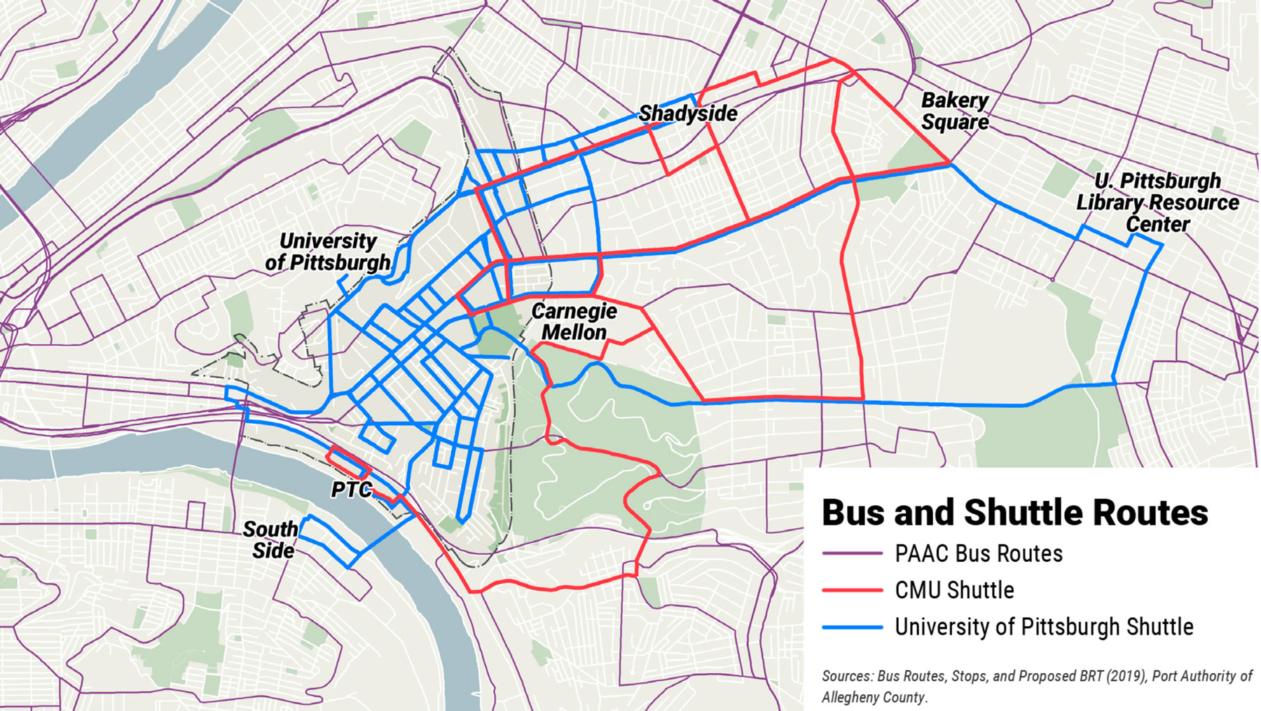 Map showing Port Authority bus routes as well as University of Pittsburgh and CMU shuttle routes.