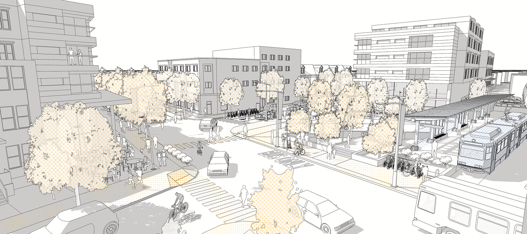 Example of an intersection with all the elements of successful transit-oriented development.