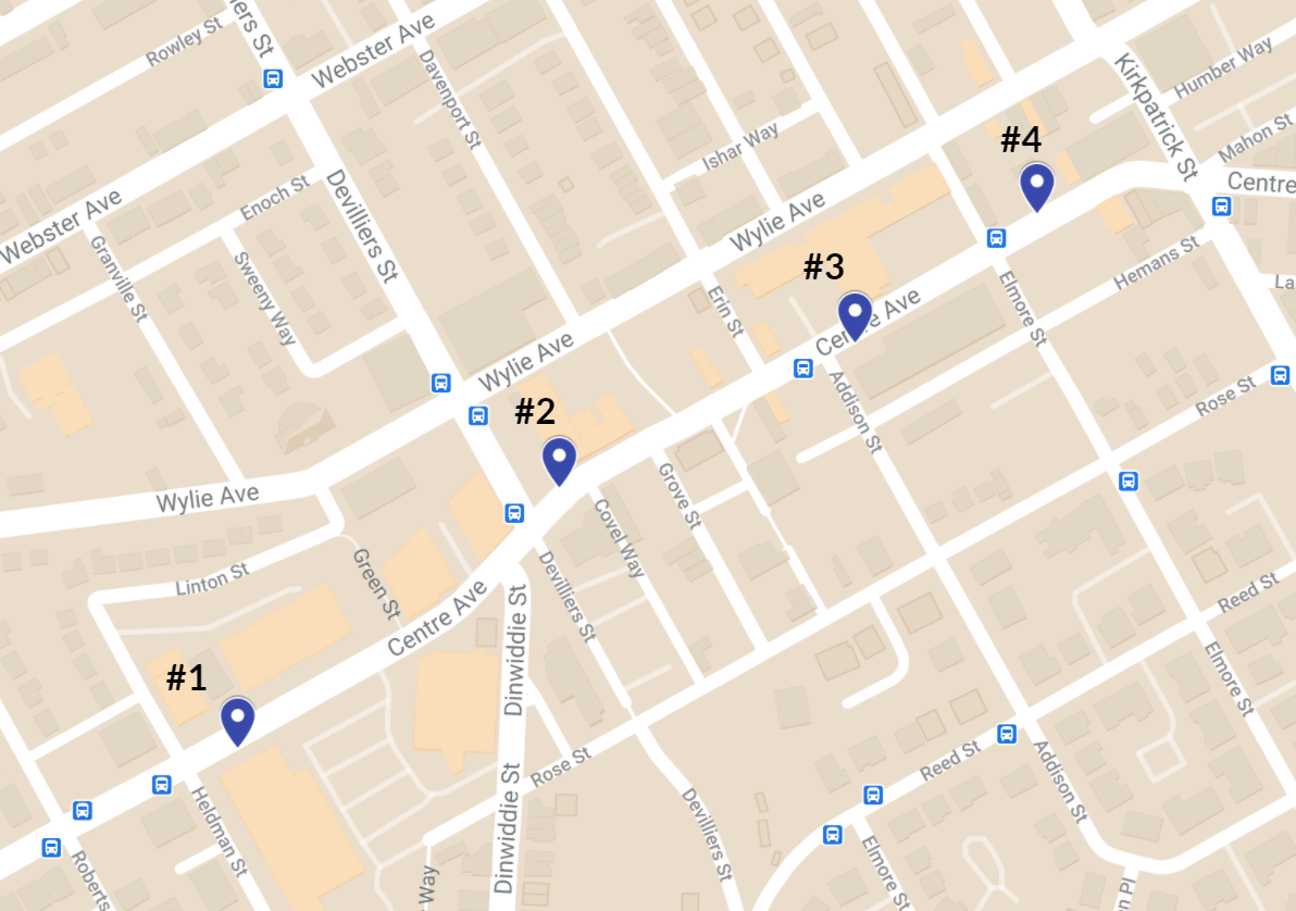 Proposed locations for a Hill District Move 412 hub