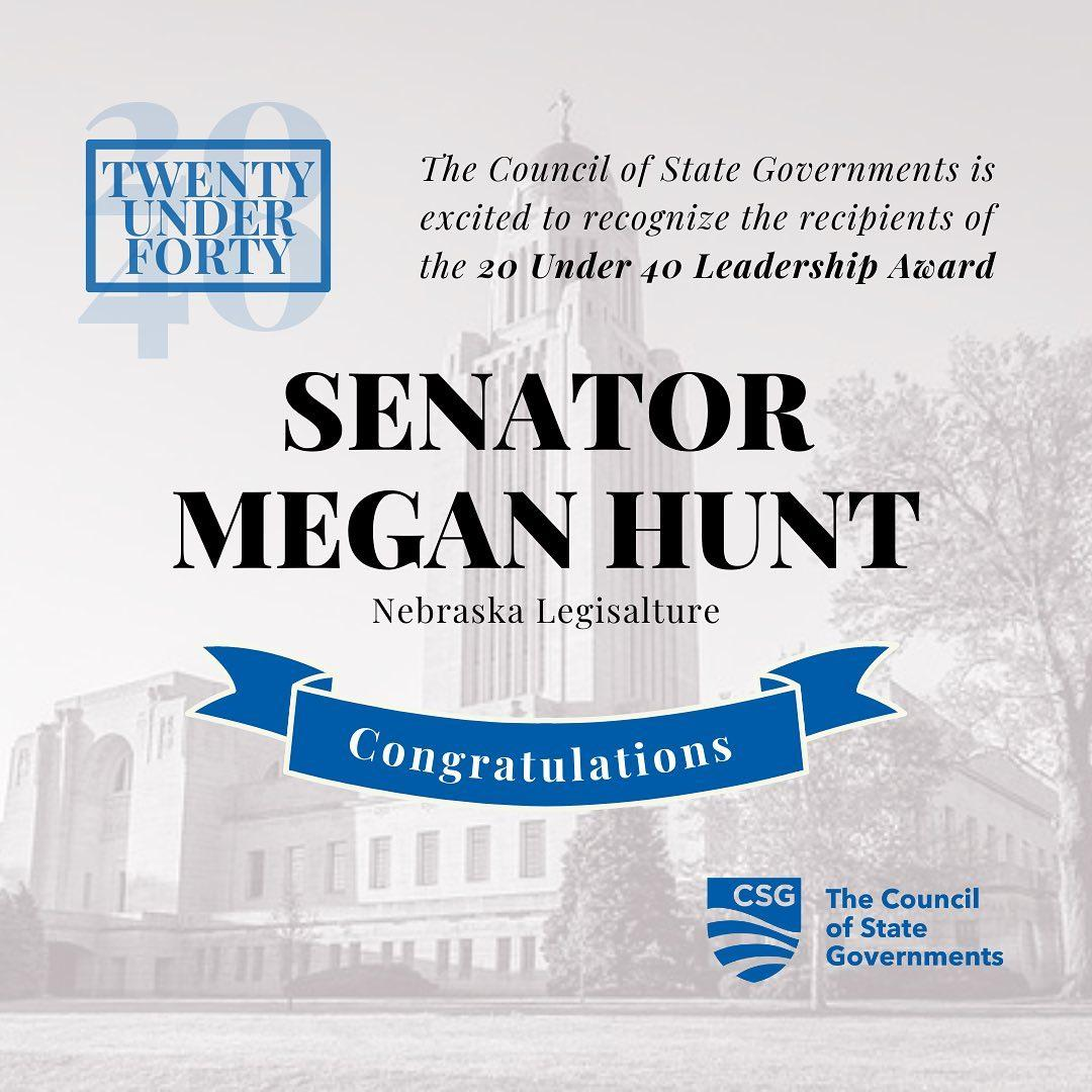 I'm honored to be in the company of so many amazing young leaders all over the nation as a Council of State Governments 20 under 40 award winner. This award is a testament to the character and support of my community, where we welcome our neighbors, amplify every voice, and lead with courage.