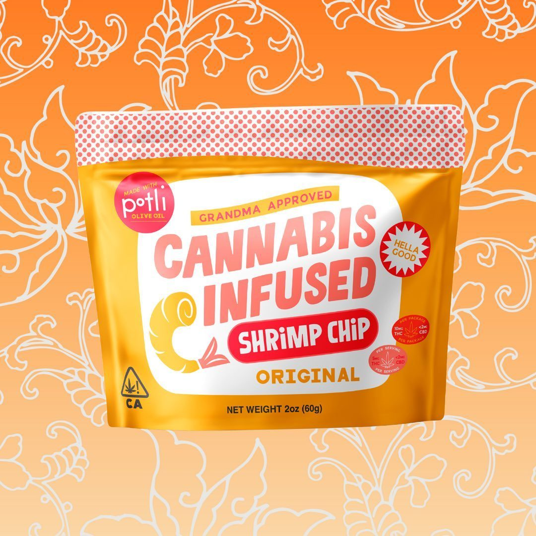 Products we : @getpotli's Cannabis-Infused Shrimp Chips    So nice, they had to make them twice. These delectable morsels come in two speeds, original and spicy , guaranteed to light up your tastebuds.  Satisfy your cravings at the link in bio.