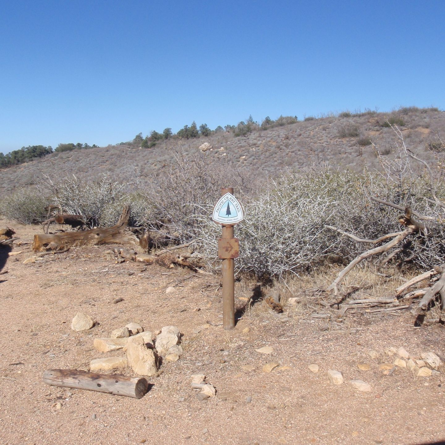 SC65 - McIvers Cabin - Waypoint 13: Pacific Crest Trail sign on the left