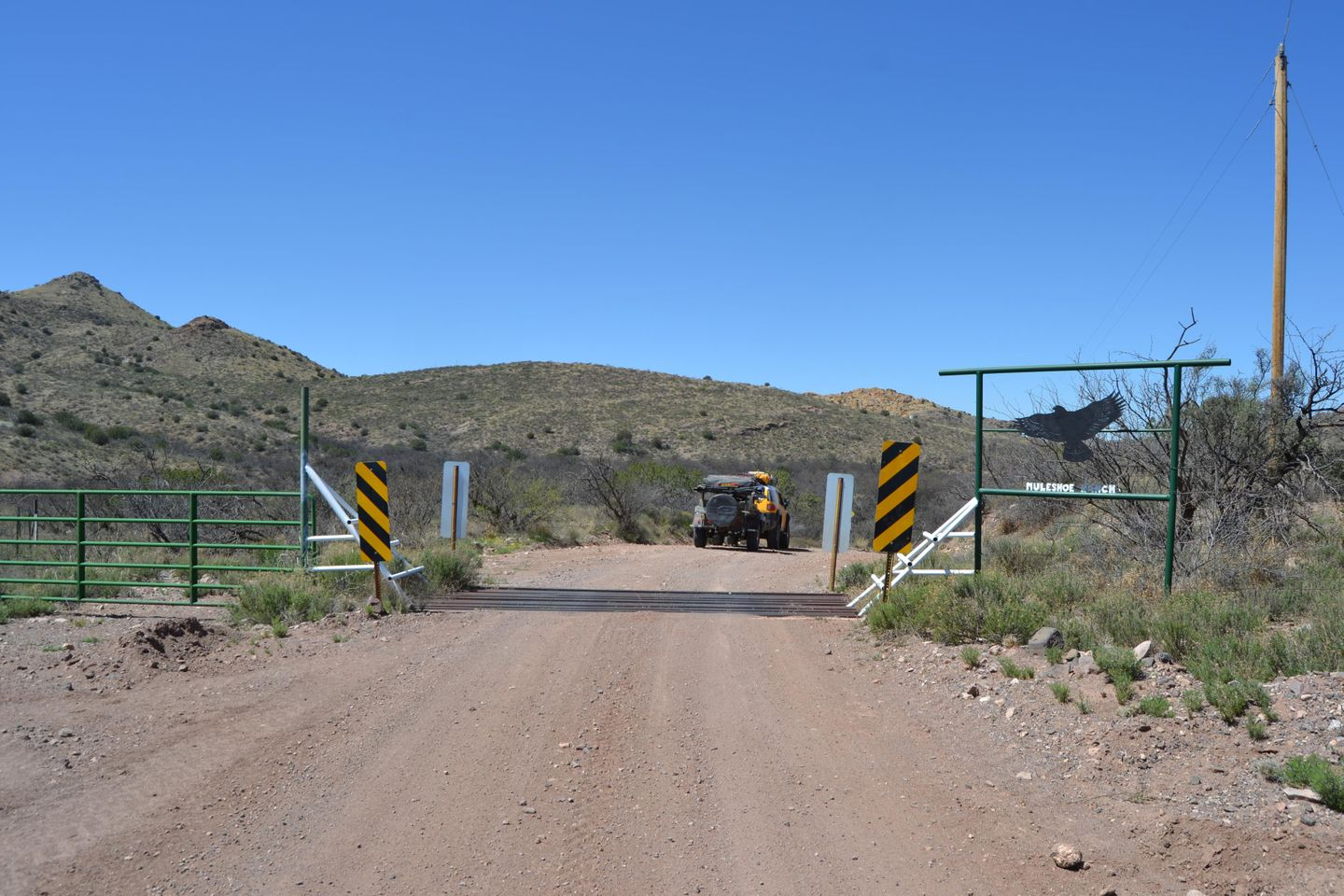 Jackson Cabin/Muleshoe Ranch Road - Waypoint 2: Muleshoe Ranch Boundary - Cattle Guard