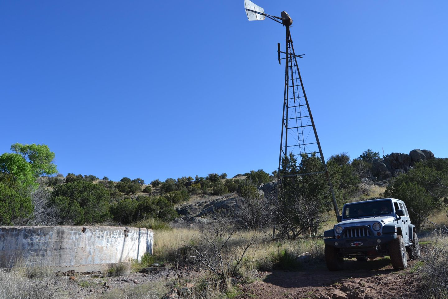 Jackson Cabin/Muleshoe Ranch Road - Waypoint 16: Water Tank & Decommissioned Windmill