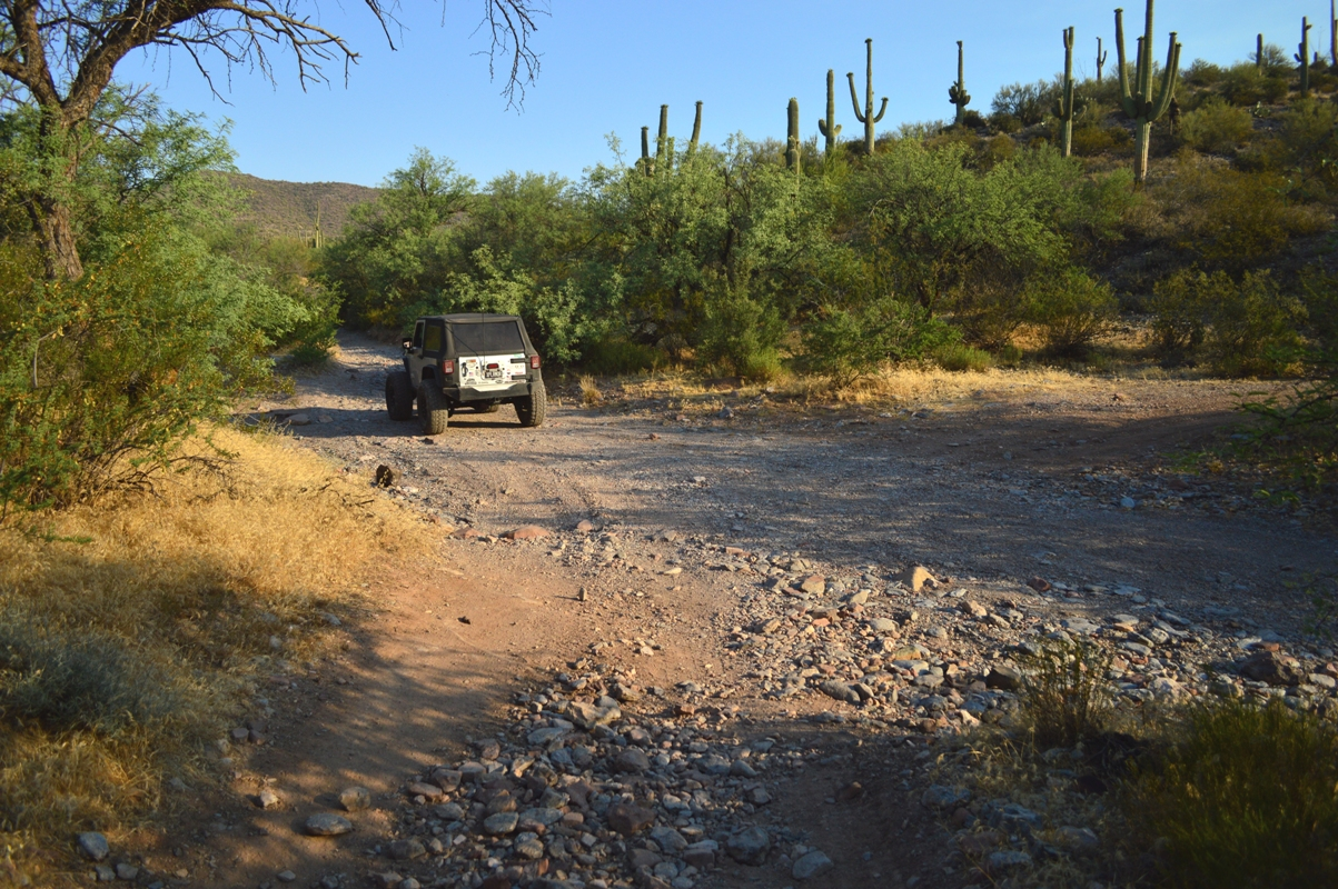 Millsite Canyon Trail Arizona - Waypoint 5: STAY LEFT IN THE WASH