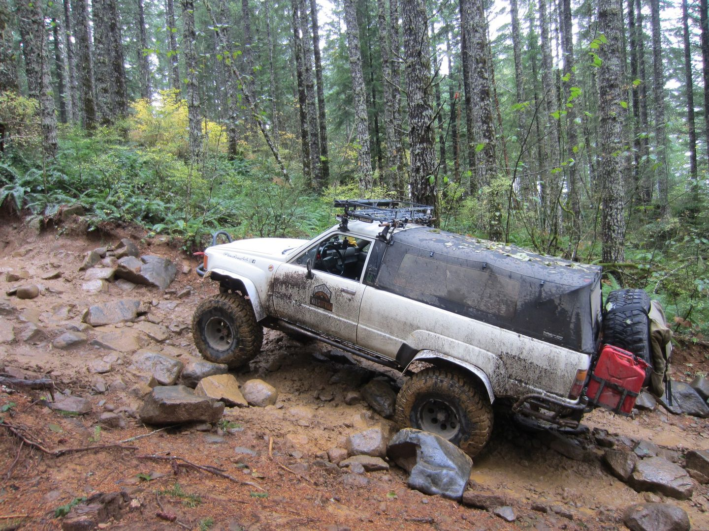 Firebreak Five / Tillamook State Forest - Waypoint 3: Large Boulder and Shelf Obstacle -- Challenging When Wet