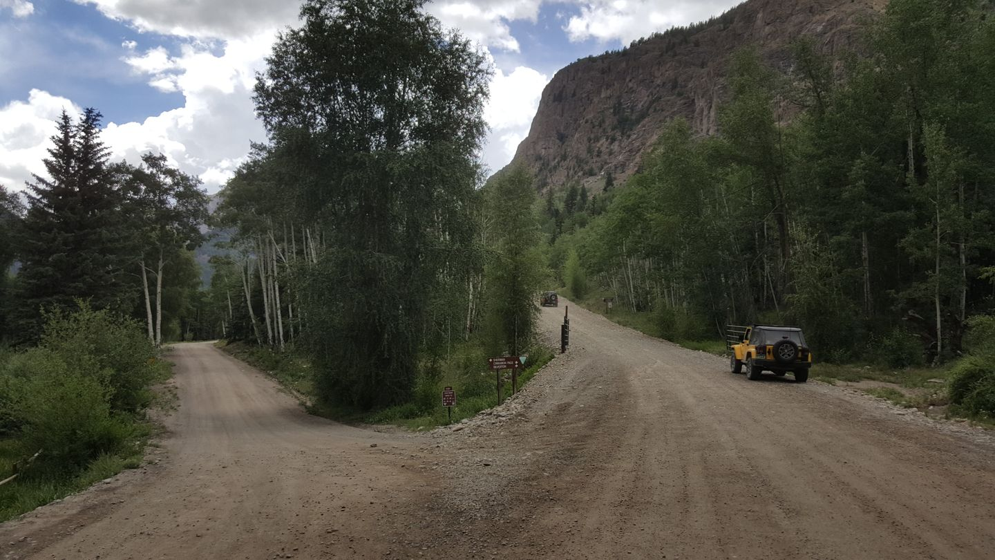 Cinnamon Pass - Waypoint 9: Intersection with Sherman Road (CR 35) and Seasonal Gate