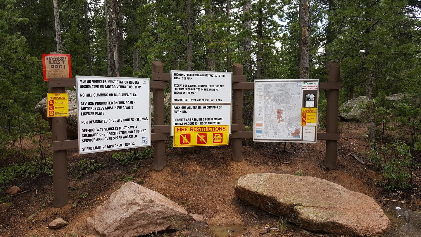 Rampart Range Road - Waypoint 19: Seasonal Gate and Posted Notice Board
