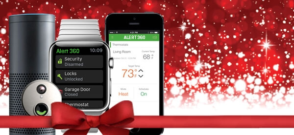 Alert 360 home security: Cool Christmas Technology image with smartphone, Apple watch, front doorbell and Echo Dot!