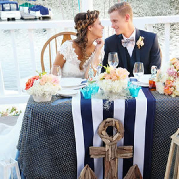 Lakefront Yacht Club Wedding In Navy Blue And White
