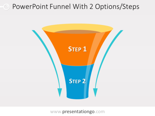 Free editable funnel diagram for PowerPoint with 2 steps