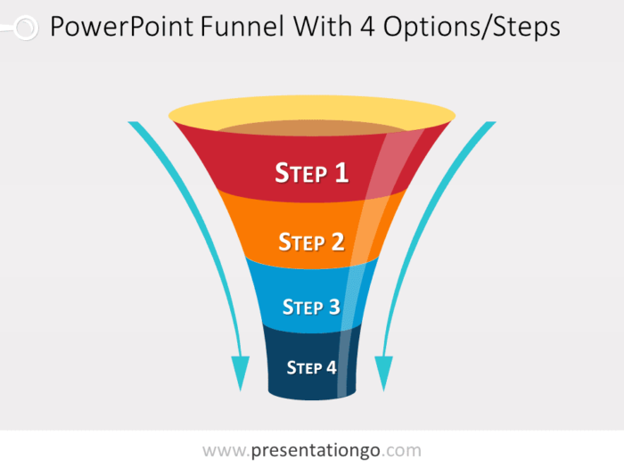 Free editable funnel diagram with 4 steps