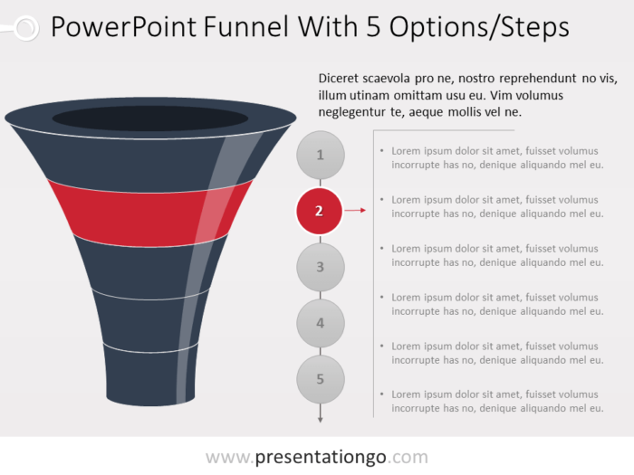 Free Funnel Evolution for PowerPoint with 5 steps - level 2