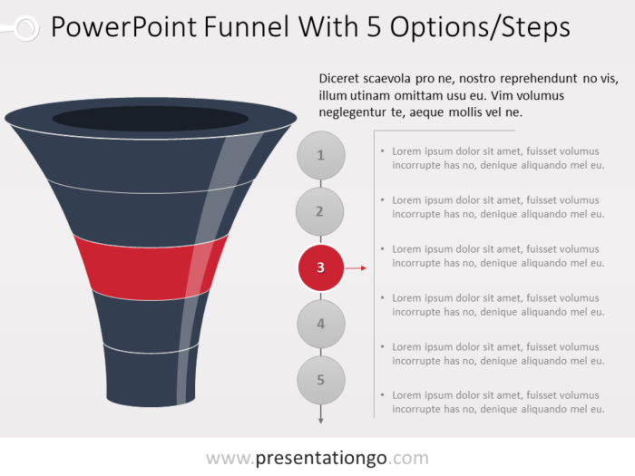 Free Funnel Evolution for PowerPoint with 5 steps - level 3