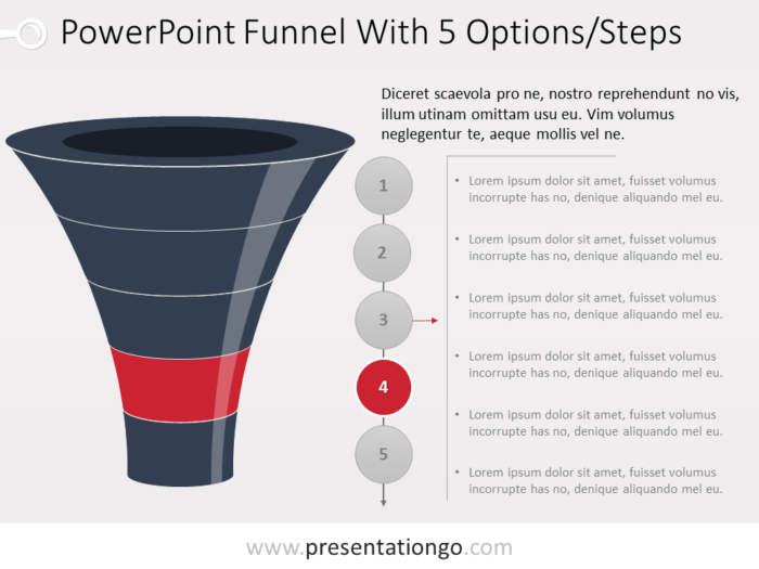 Free Funnel Evolution for PowerPoint with 5 steps - level 4