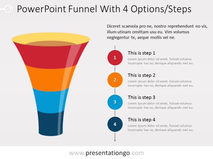 Free Funnel PowerPoint with 4 levels and text