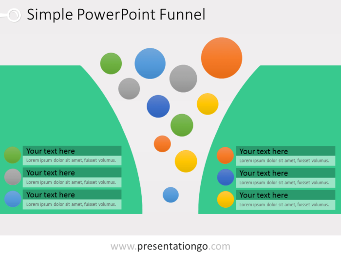 PowerPoint Funnel with bubbles
