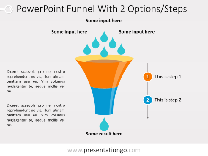Free PowerPoint Funnel - Input with Drops - 2 steps