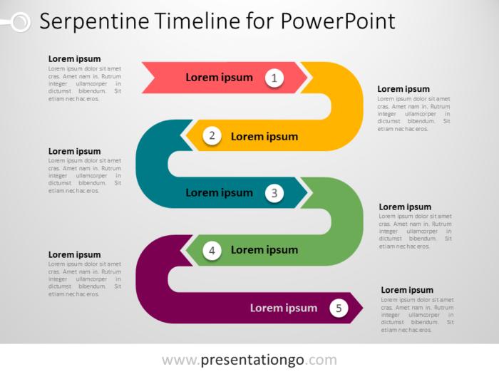 Free Serpentine Timeline PowerPoint Vertical
