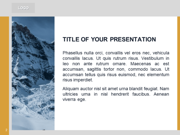 Free Orange PowerPoint Template with photo of Mountains