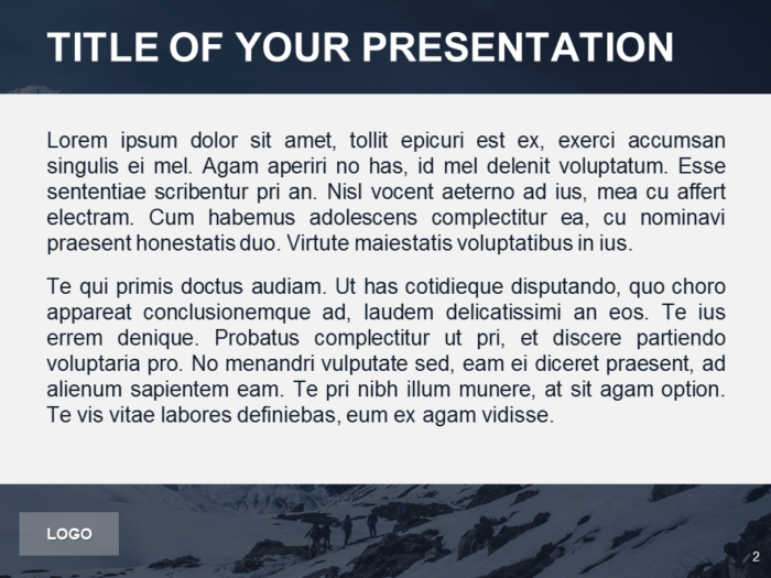 Free PowerPoint Template with photo of Mountains