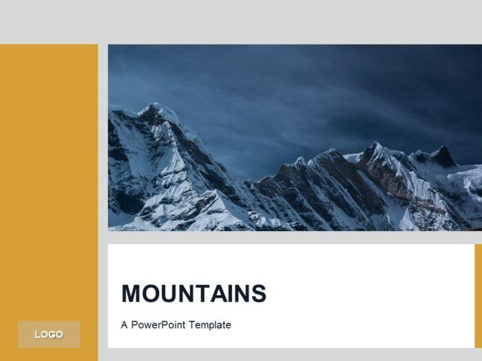 Free Orange PowerPoint Template Mountains