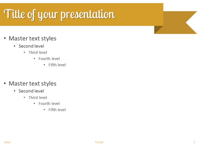 Gold Ribbon Banner PowerPoint Template - Slide 2