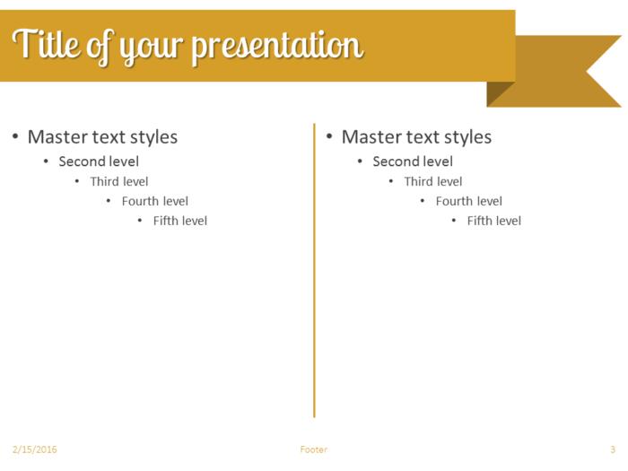 Gold Ribbon Banner PowerPoint Template - Slide 3