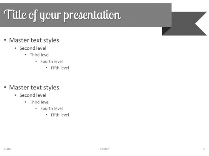 Gray Ribbon Banner PowerPoint Template - Slide 2