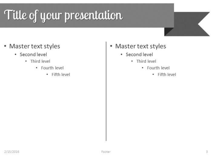 Gray Ribbon Banner PowerPoint Template - Slide 3