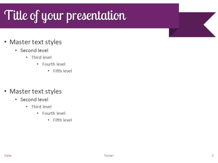 Purple Ribbon Banner PowerPoint Template - Slide 2