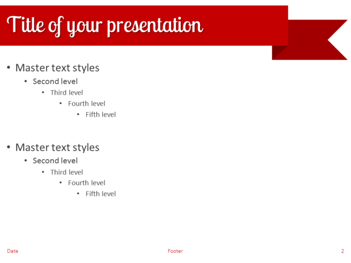 Red Ribbon Banner PowerPoint Template - Slide 2