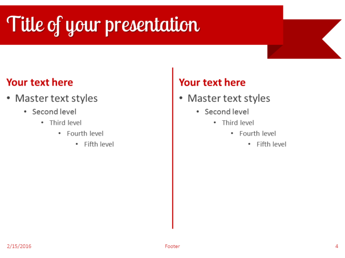 Red Ribbon Banner PowerPoint Template - Slide 4