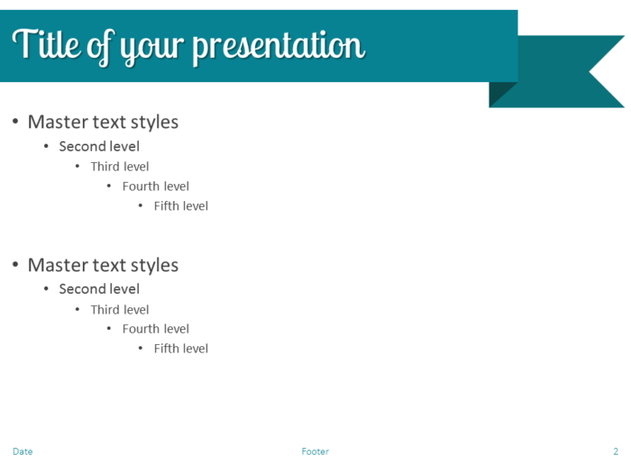 Turquoise Ribbon Banner PowerPoint Template - Slide 2