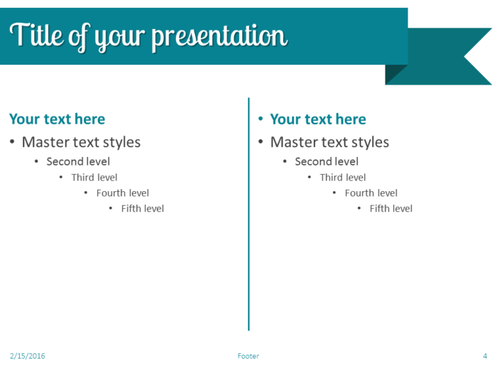 Turquoise Ribbon Banner PowerPoint Template - Slide 4