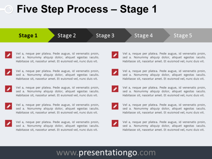 Free 5 Step Process PowerPoint Template - Stage 1