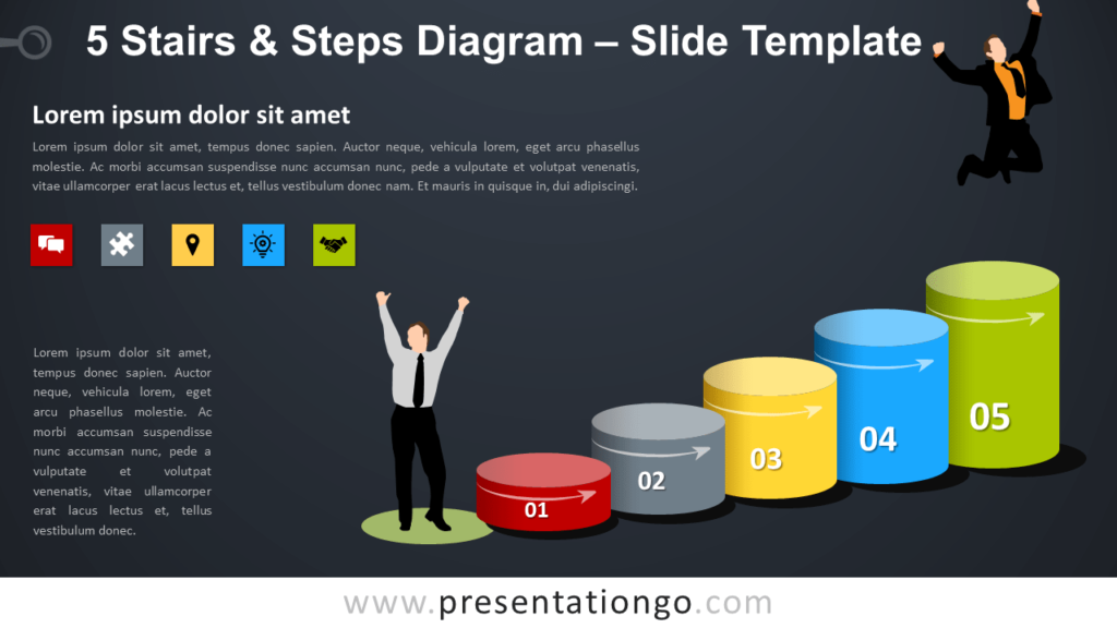 Free 5 Stairs and Steps Diagram for PowerPoint