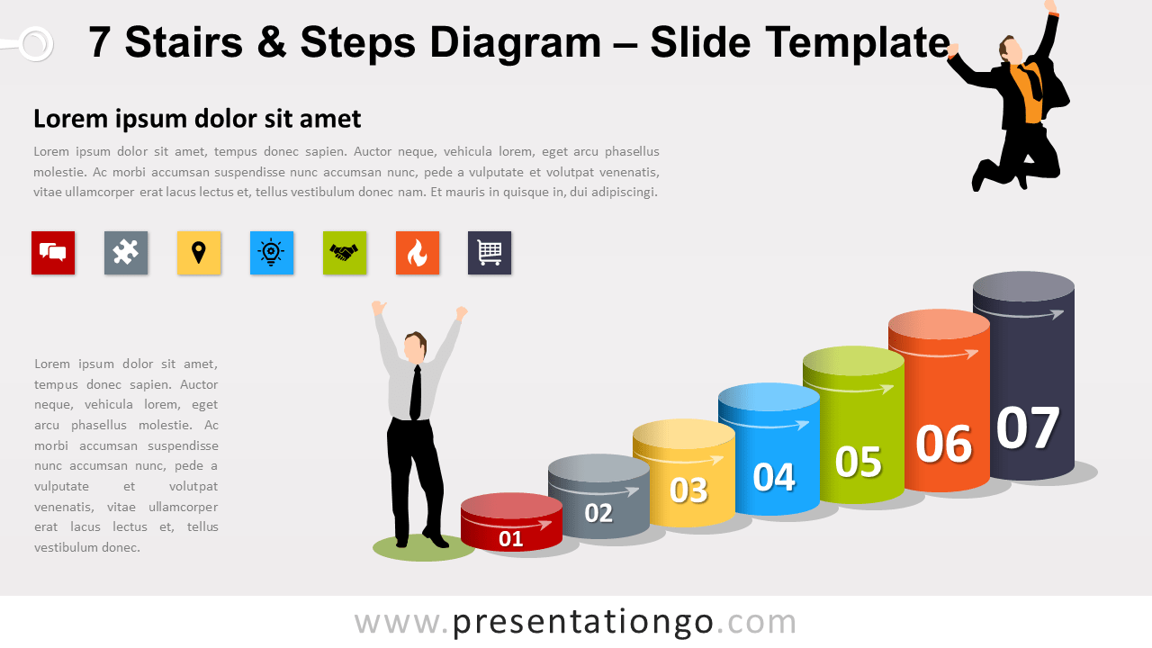 Free 7 Stairs and Steps Diagram for PowerPoint and Google Slides