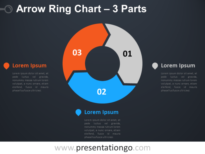 Free editable 3-Parts Arrow Ring PowerPoint Chart - Dark Background