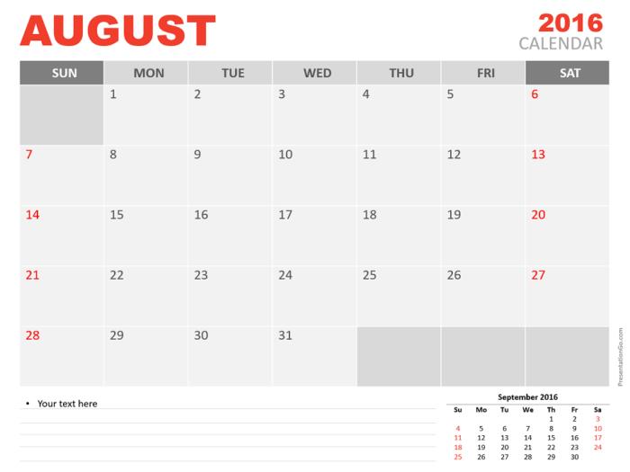 Free August 2016 PowerPoint Calendar Start Sunday