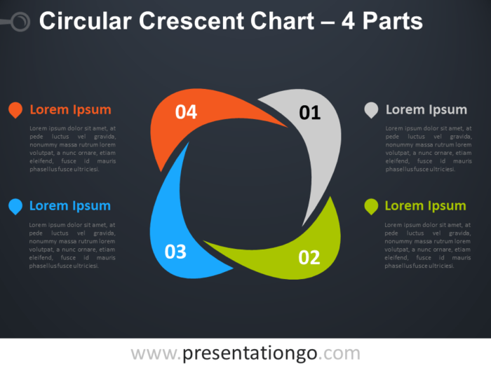 Free editable Circular Crescent PowerPoint Diagram with 4 Parts - Dark Background