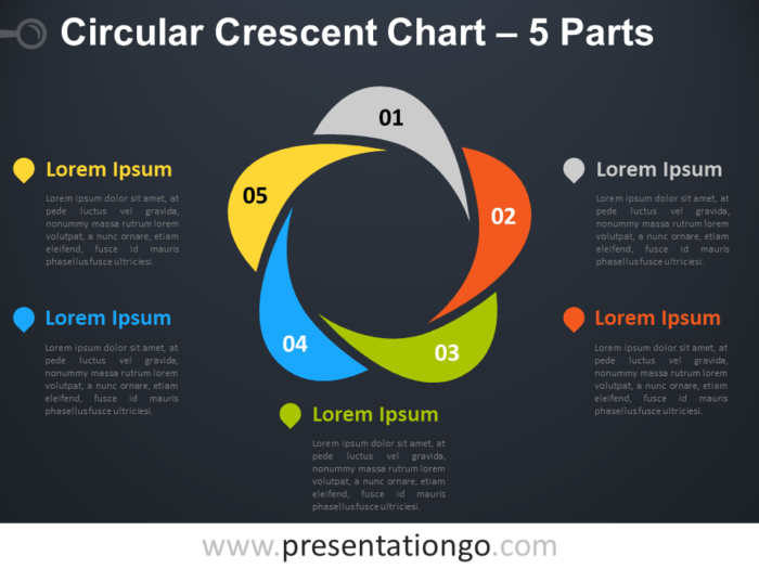Free editable Circular Crescent PowerPoint Diagram with 5 Parts - Dark Background
